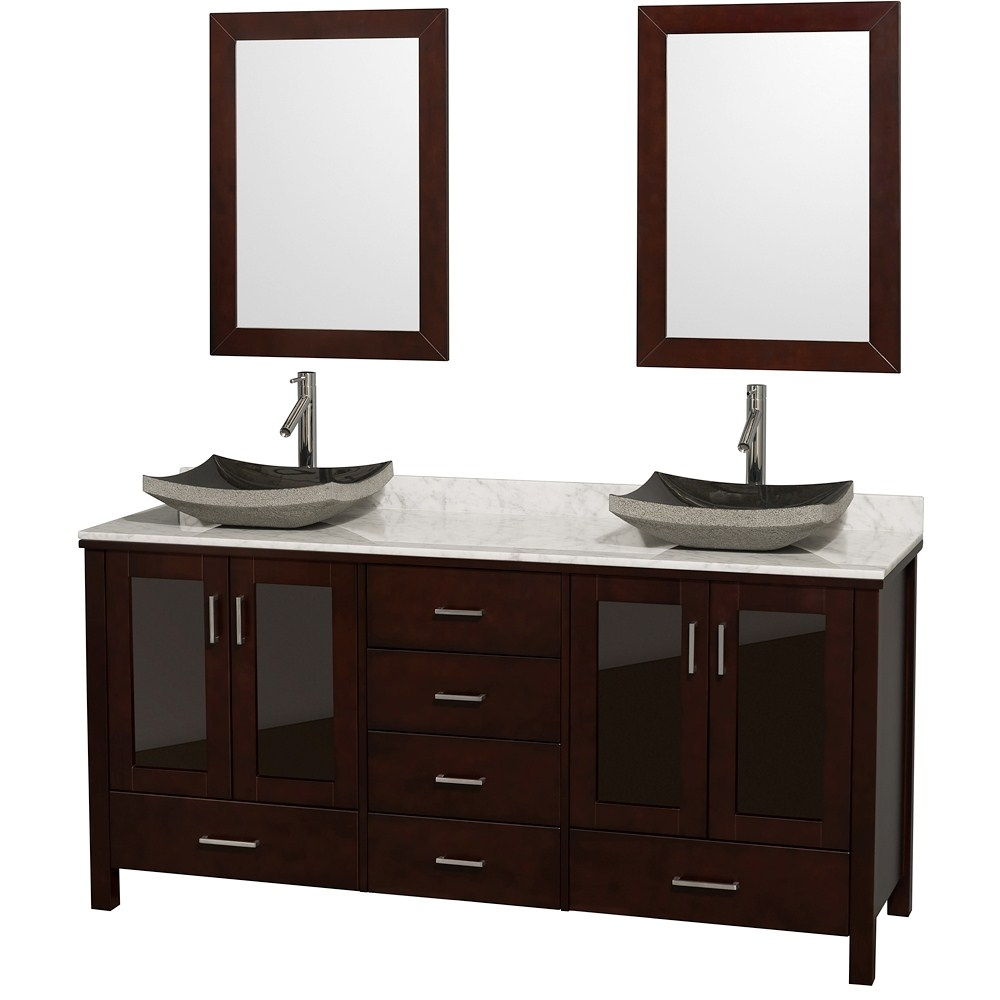 Lucy 72 Double Bathroom Vanity Set With Vessel Sinks