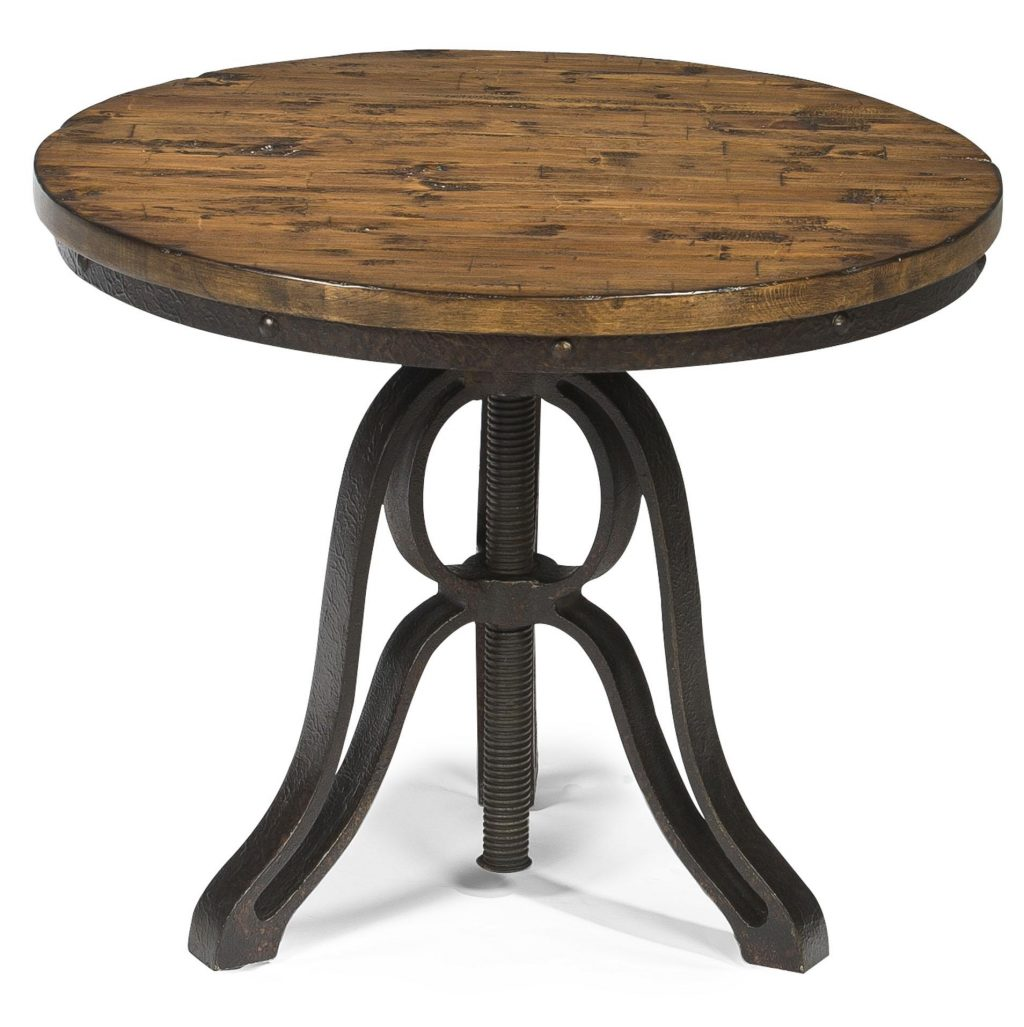 Magnussen Home Cranfill Industrial Style Round End Table With
