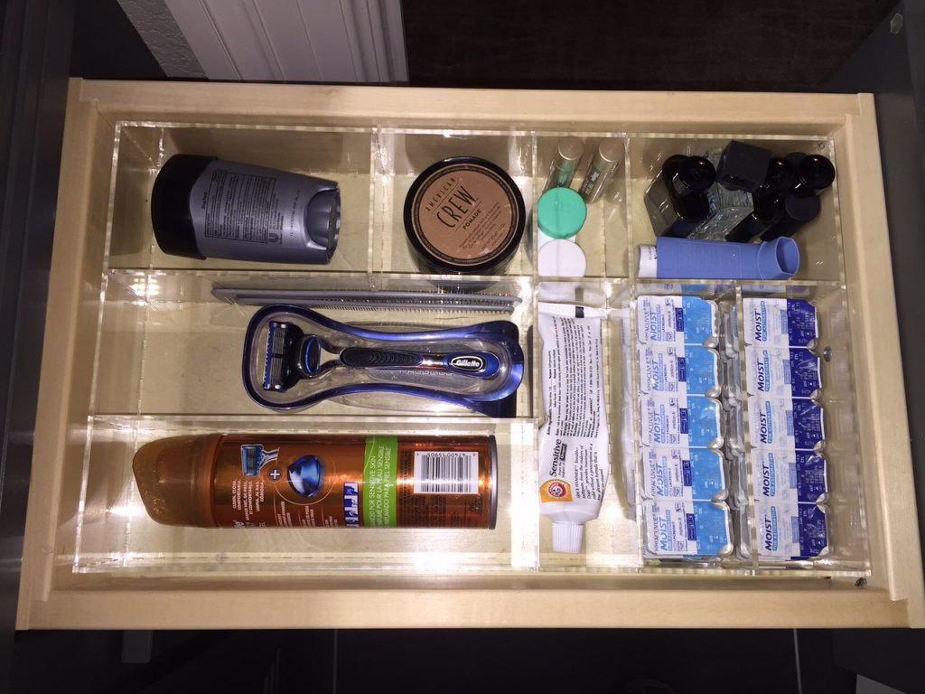 Man Bathroom 2 Drawer Organizer Custom Acrylic Drawer Organizers