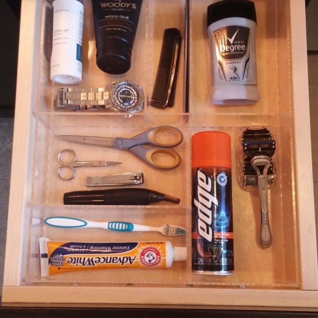Man Bathroom Custom Acrylic Drawer Organizers