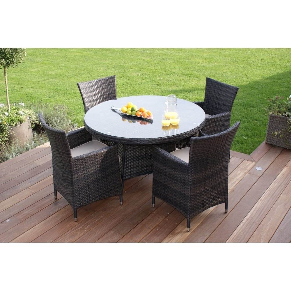 Maze Rattan Miami 4 Seat Round Dining Set Rattan Furniture From
