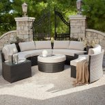 Meridian All Weather Wicker Sectional Khaki Conversation Patio