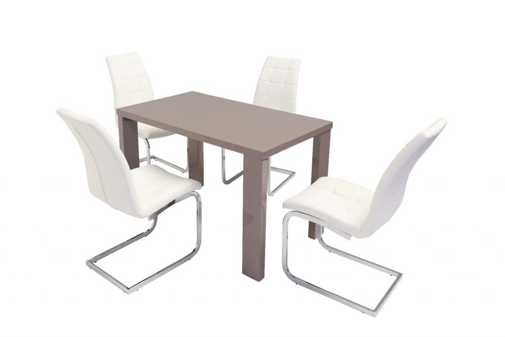 Miami Mink Grey High Gloss Dining Table With New York Dining Chair