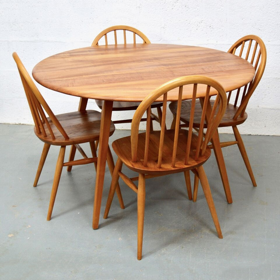 Mid Century Vintage Elm Dining Table Chairs Ercol Pedlars