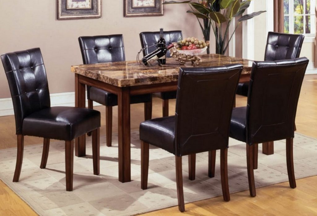Mission Style Dining Room Set With Granite Top Dining Table And 6