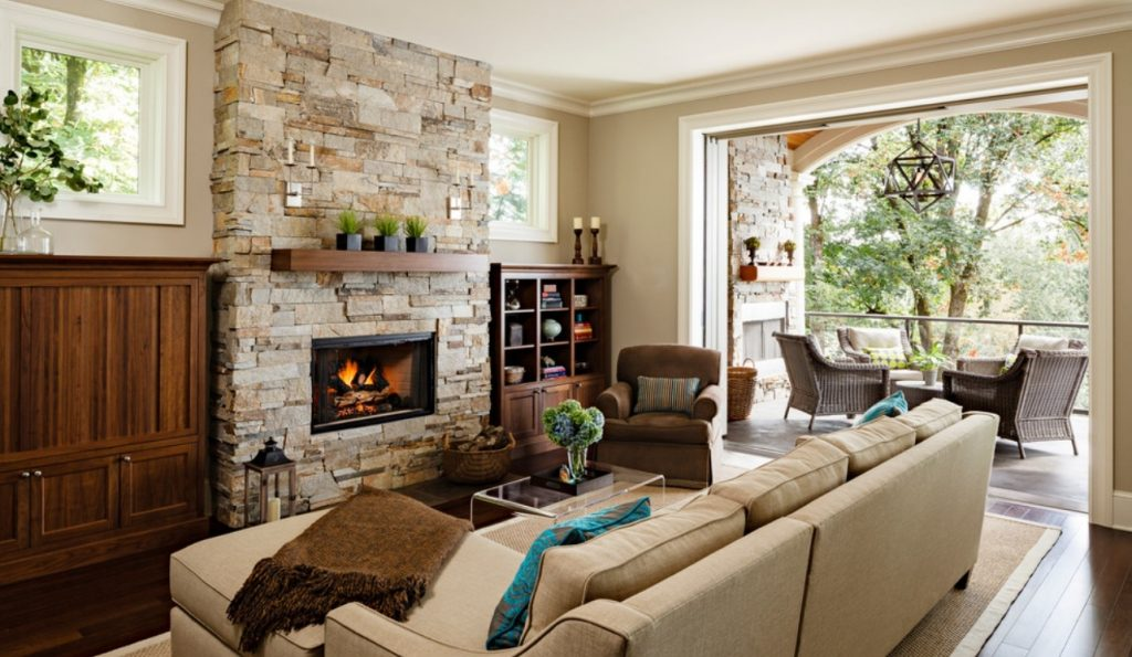 Modern Living Room With Fireplace Perfect With Image Of Modern