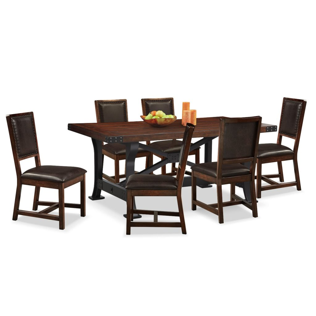 Newcastle Dining Table And 6 Side Chairs Mahogany Value City