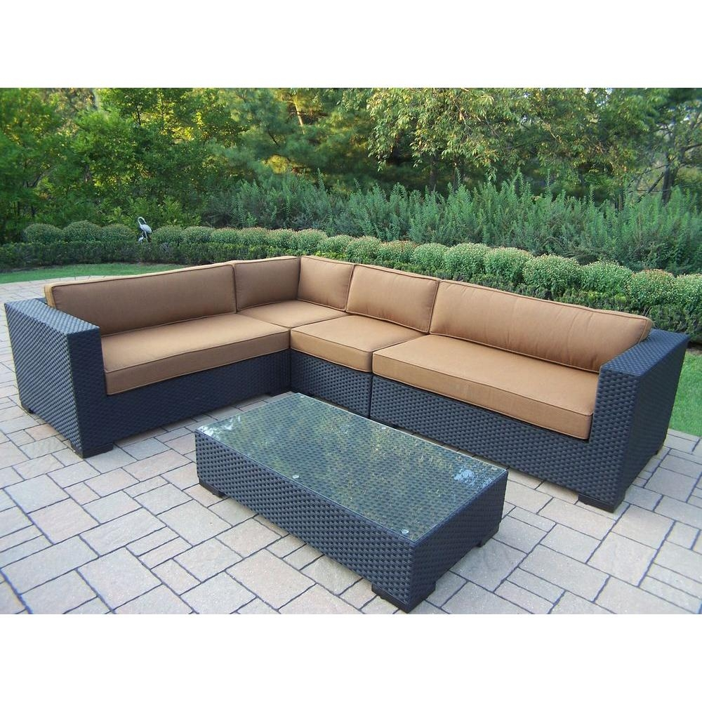 Oakland Living Luxury All Weather Wicker Patio Sectional Set With