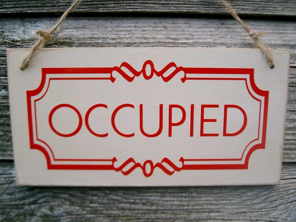 Occupied Vacant Double Sided Bathroom Door Sign Toilet Sign