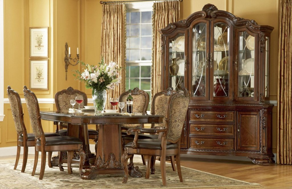 Old World Double Pedestal Extendable Dining Room Set From Art From