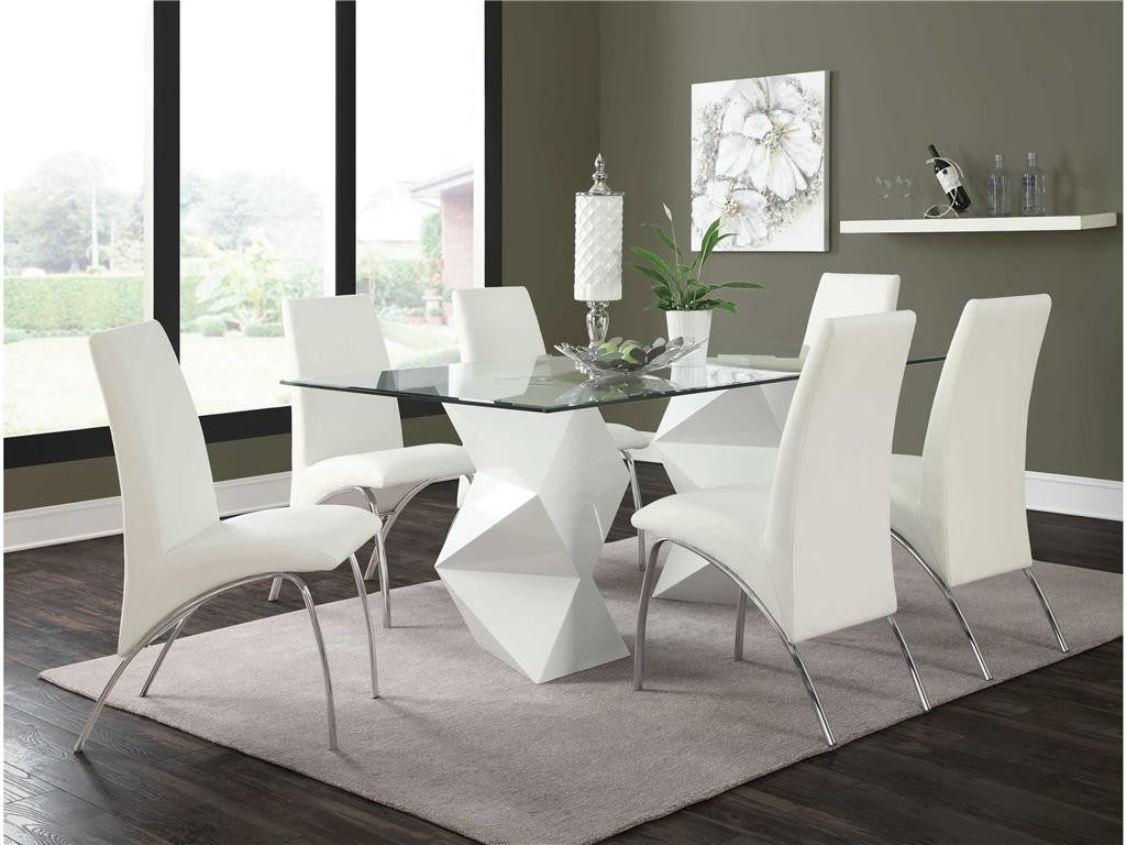 Ophelia White 5 Dining Set 121571 121572 Miami Furniture