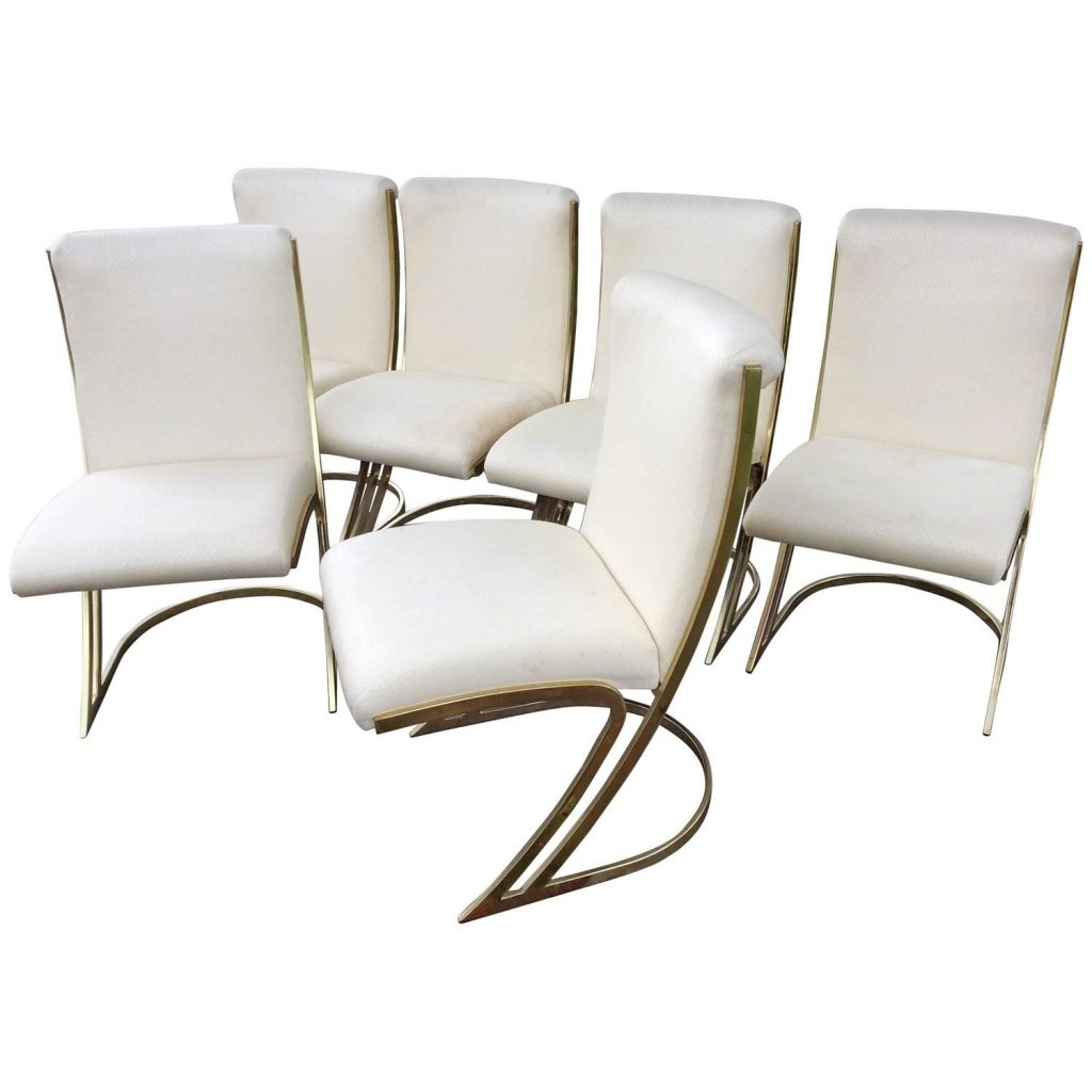Pierre Cardin Vintage Set Of Six Brass Side Dining Chairs Cantilever