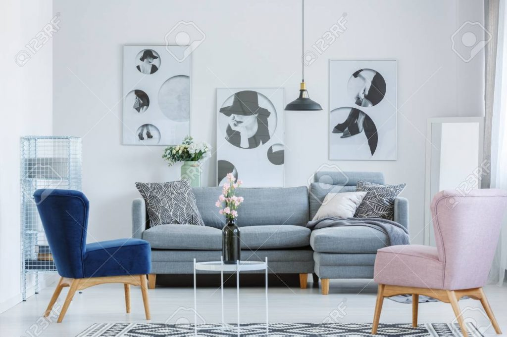 Pink And Blue Armchairs In Cozy Living Room With Grey Sofa And