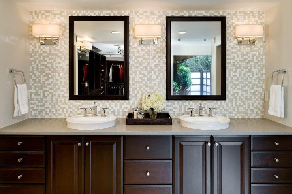 Remarkable Wooden Cabinet Applying Bathroom Backsplash Ideas Mirrors