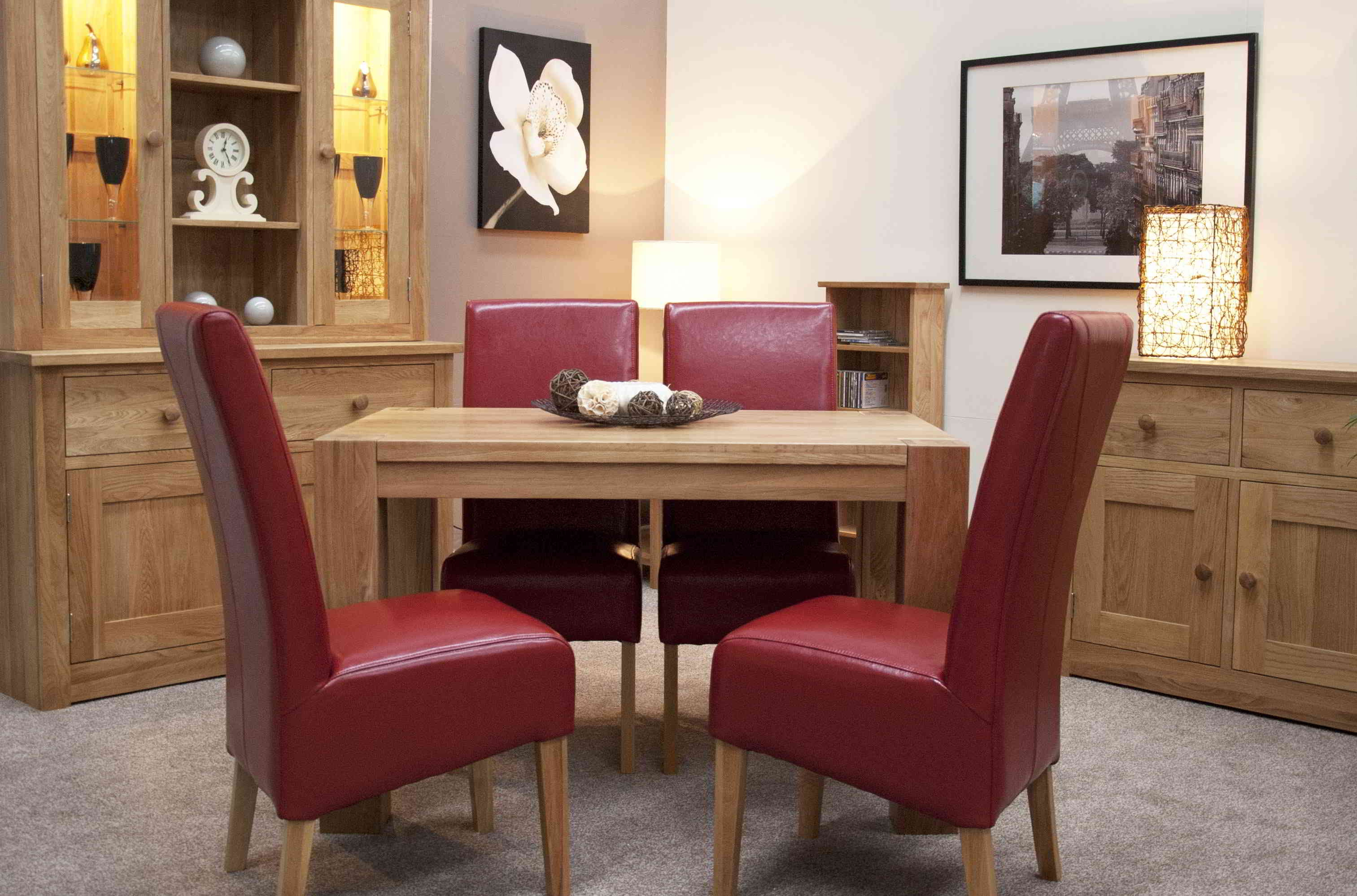 Romano Solid Oak Furniture Small Dining Table And Four Red Leather ...