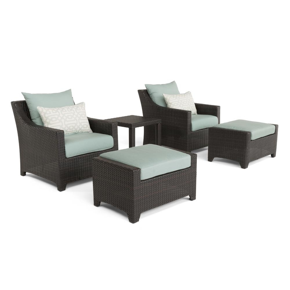 Rst Brands Deco 5 Piece All Weather Wicker Patio Club Chair And