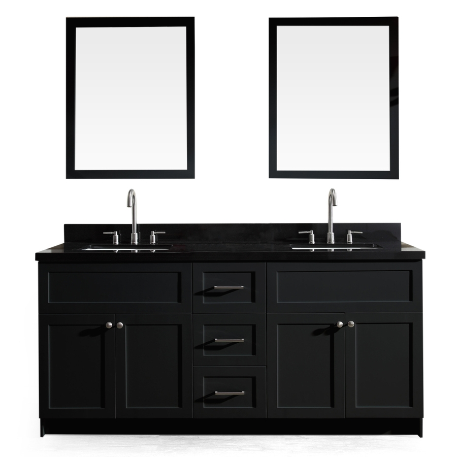 Shop Ariel Hamlet Black Double Sink Vanity With Black Granite Top