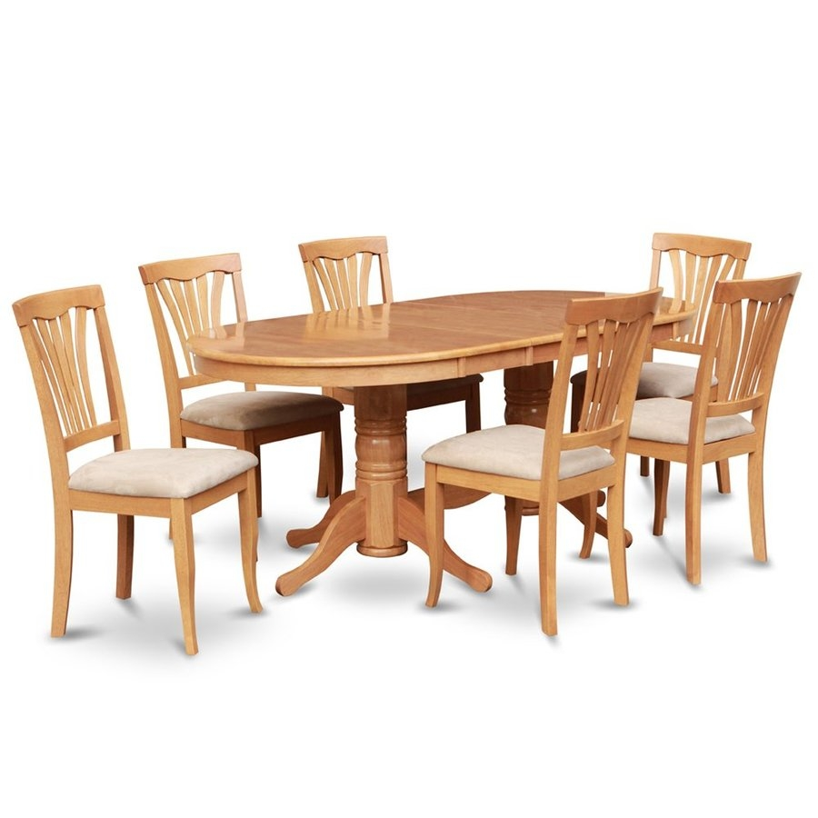 Shop East West Furniture Vancouver Oak 7 Piece Dining Set With Oval