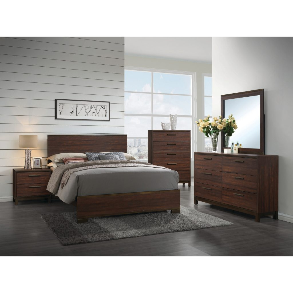 Shop Edmonton Transitional Rustic Tobacco 5 Piece Bedroom Set Free