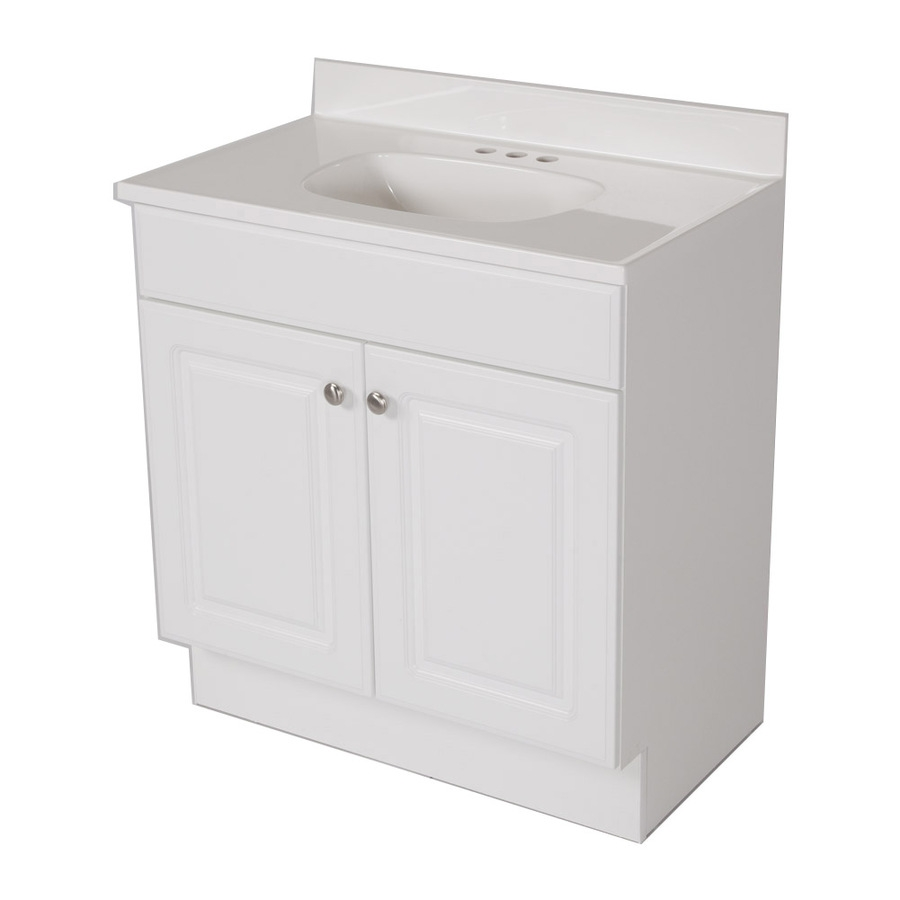 Shop Project Source White Integral Single Sink Bathroom Vanity With