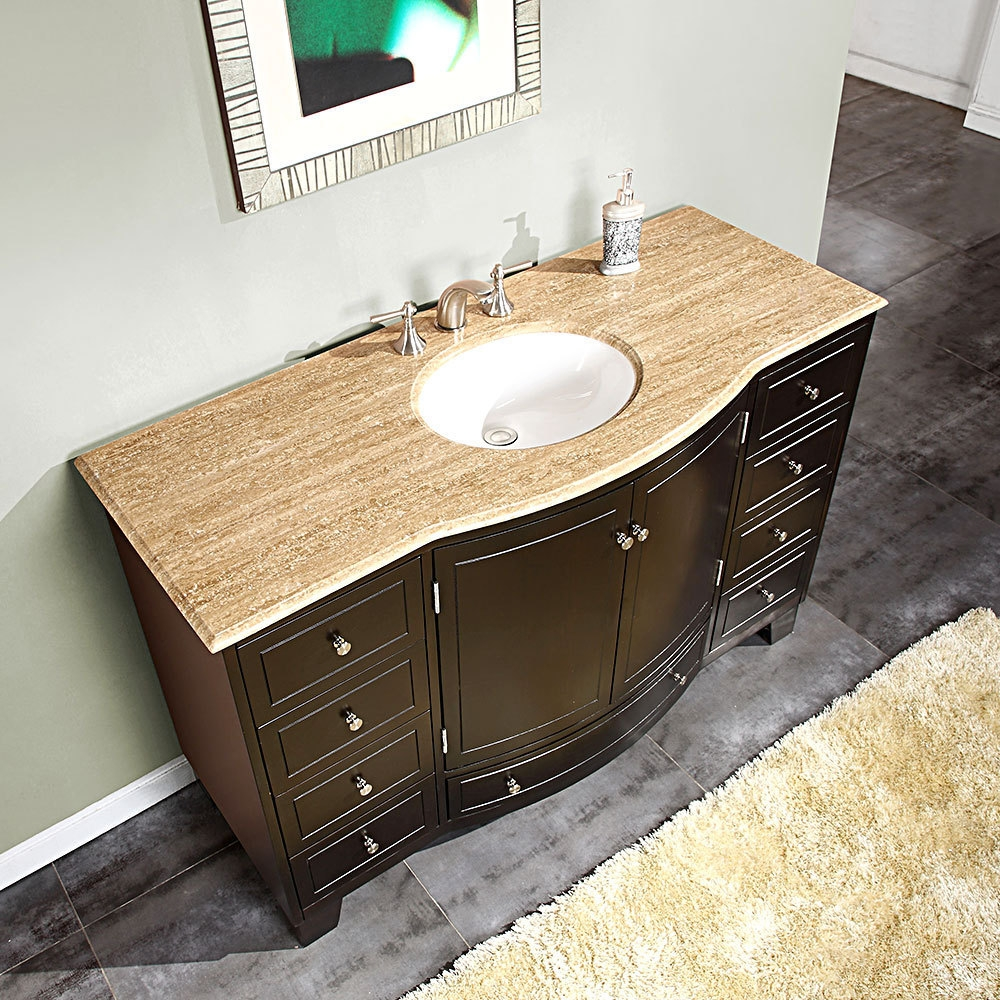Silkroad 60 Inch Single Sink Bathroom Vanity Dark Walnut Finish
