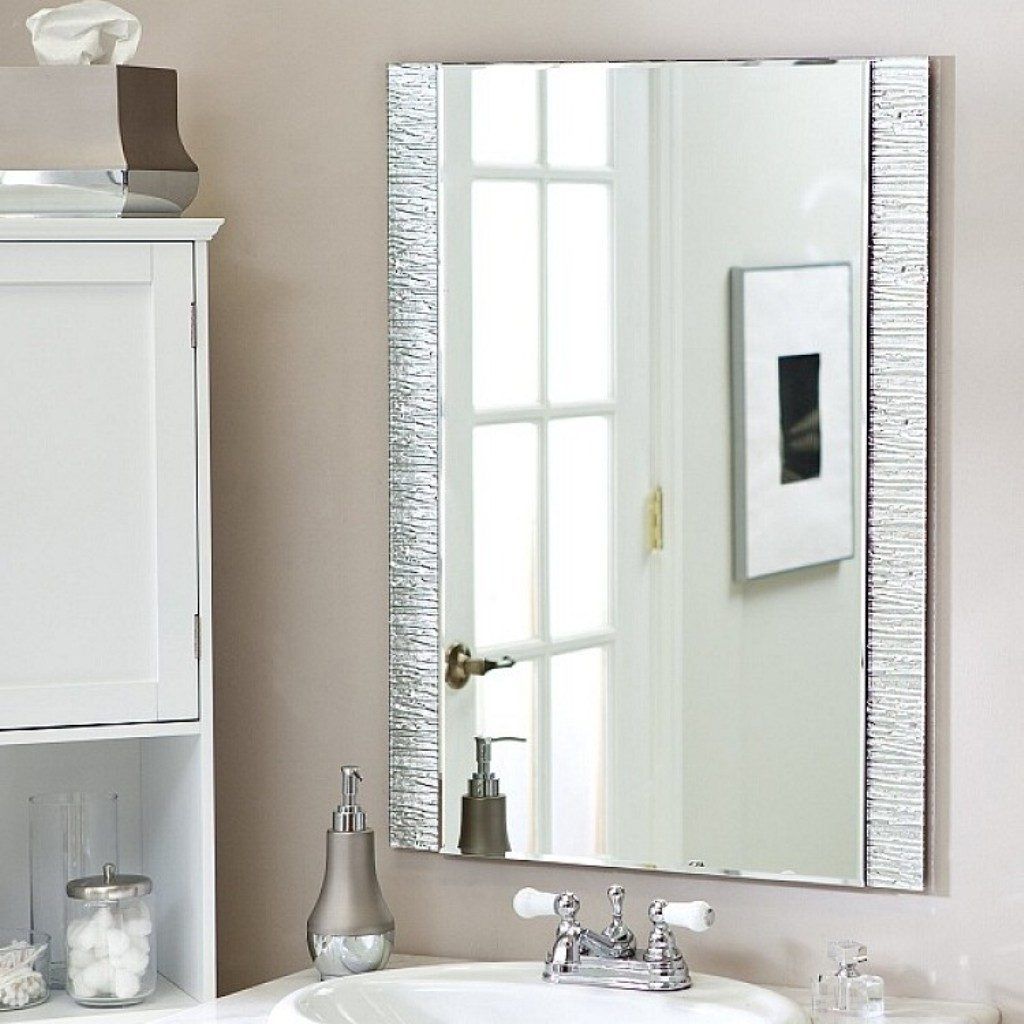Simple Mirror For Classic Bathroom Decor Ideas With Chrome Finished
