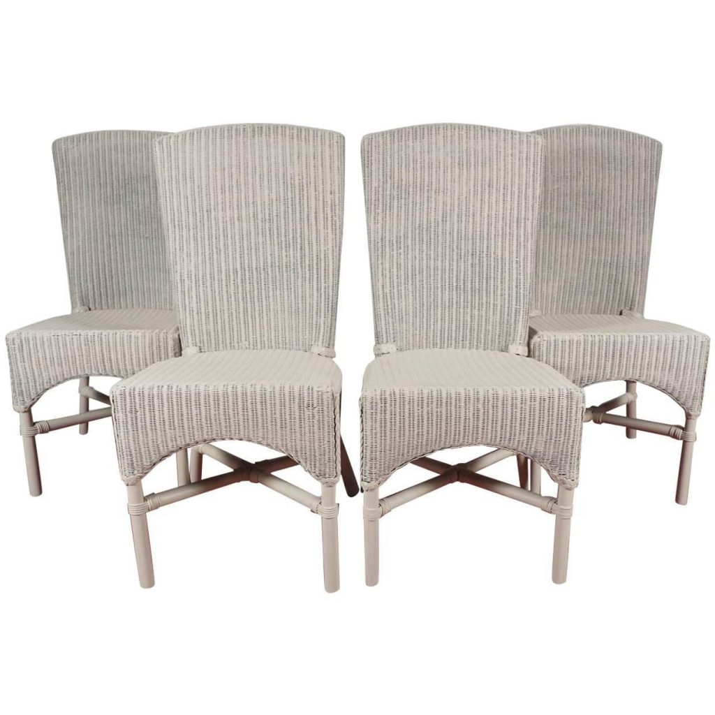Six Vintage Lloyd Loom Wicker Dining Chairs At 1stdibs