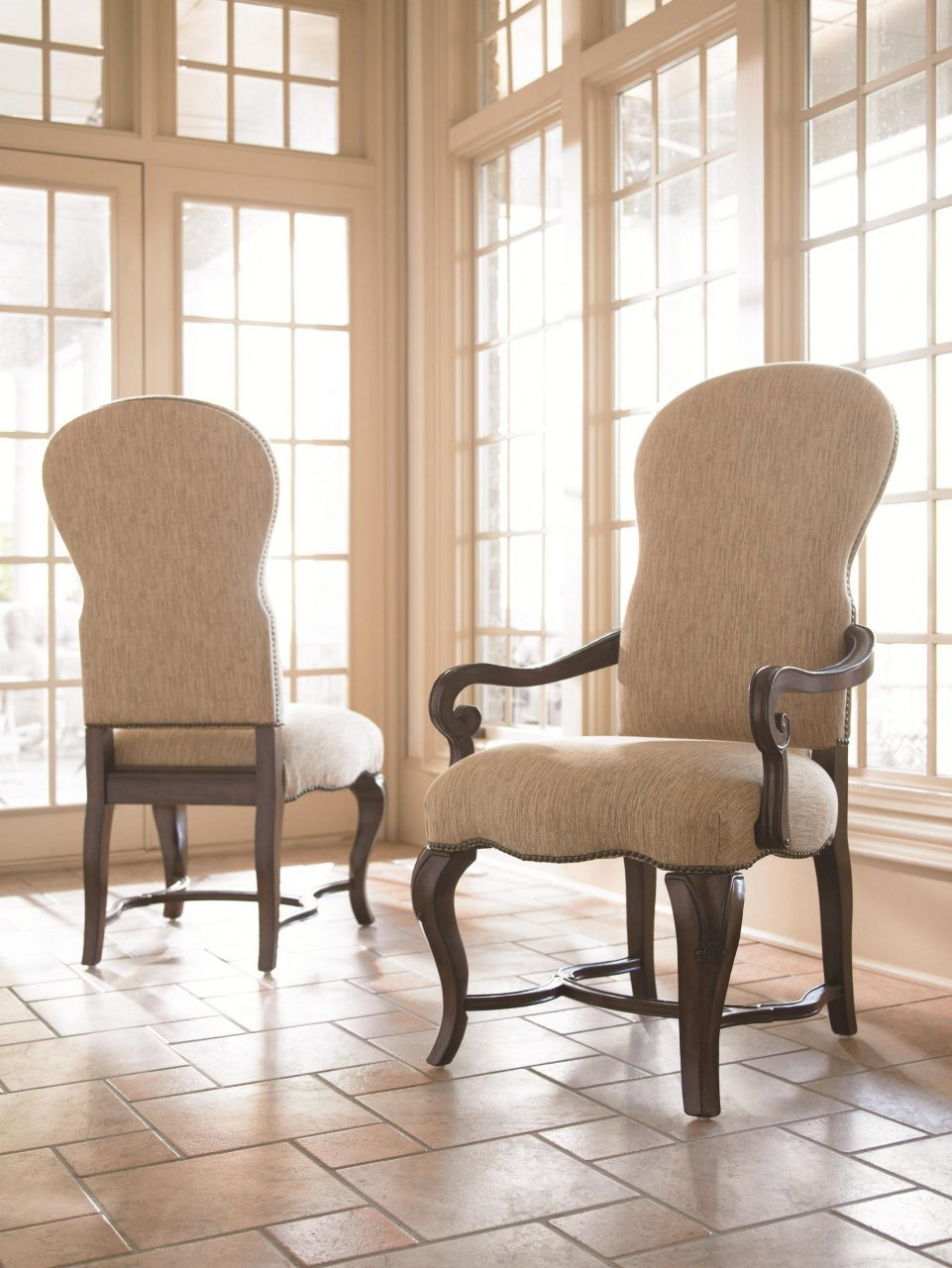 Sloping Arm Dining Chair High Back Upholstered Dining Room Chair