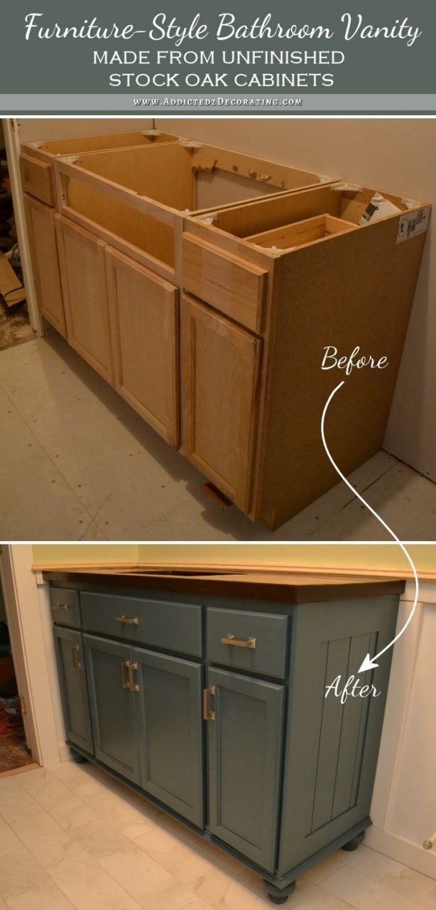 Teal Furniture Style Vanity Made From Stock Cabinets Finished I