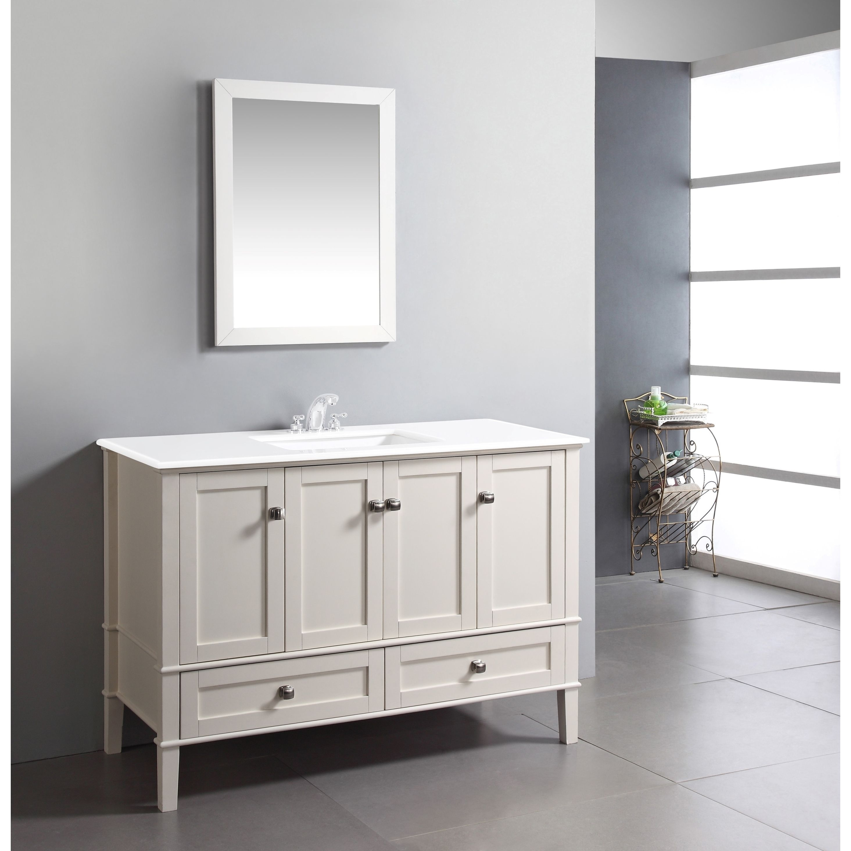 The 48 Inch Windham Bathroom Vanity Is Defined Its Soft White