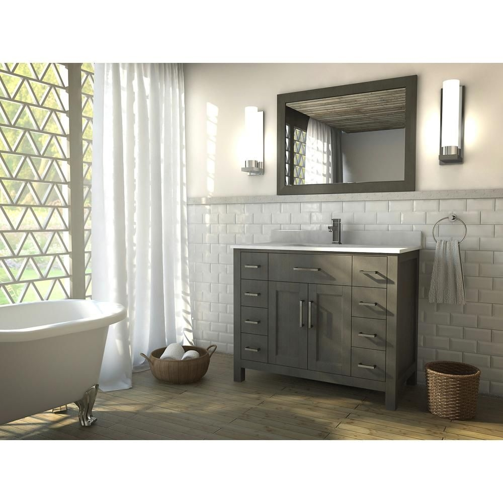 The Kent 42 Inch French Gray Finish Bathroom Vanity Is Maximum