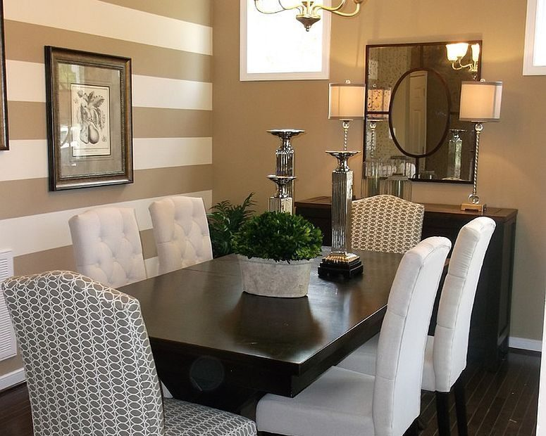 Traditional Dining Room With A Striped Accent Wall Living Room