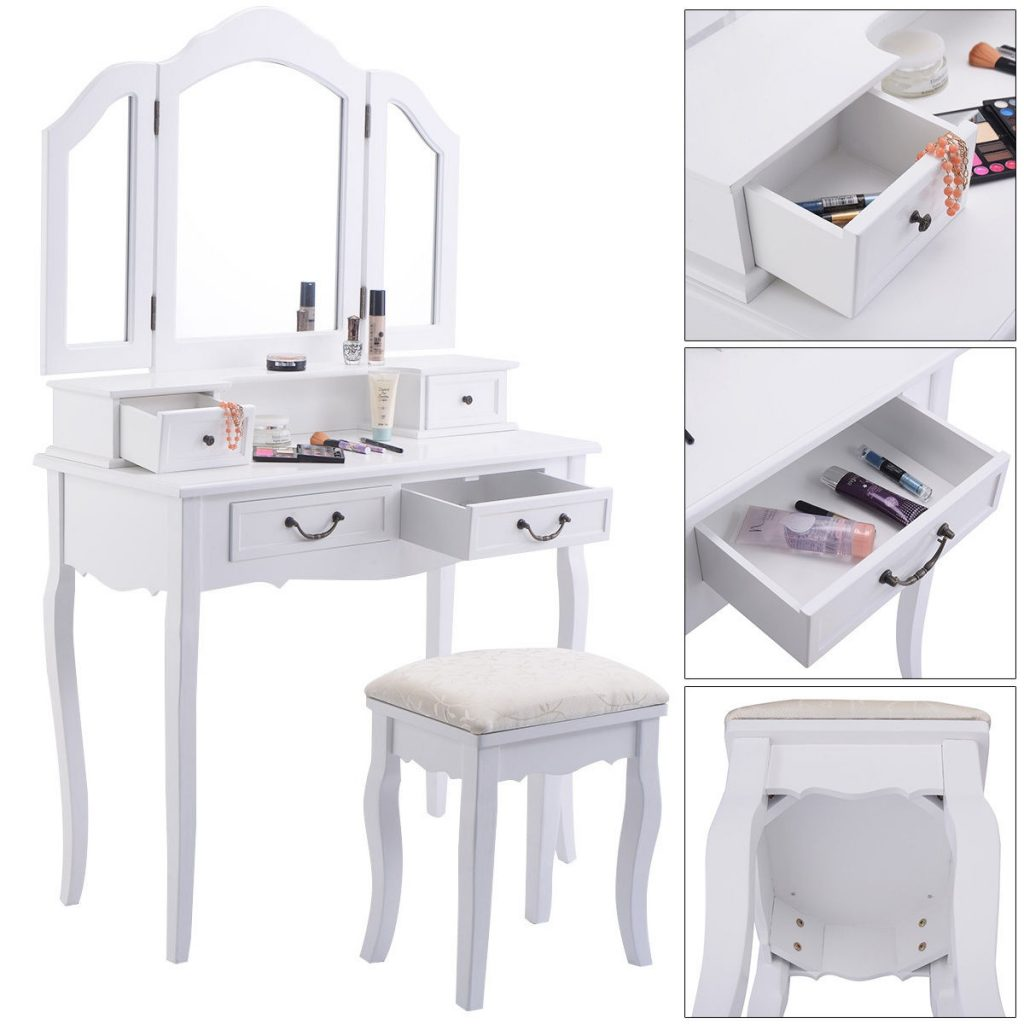 Tri Folding Mirror White Wood Vanity Set Makeup Bathroom Table