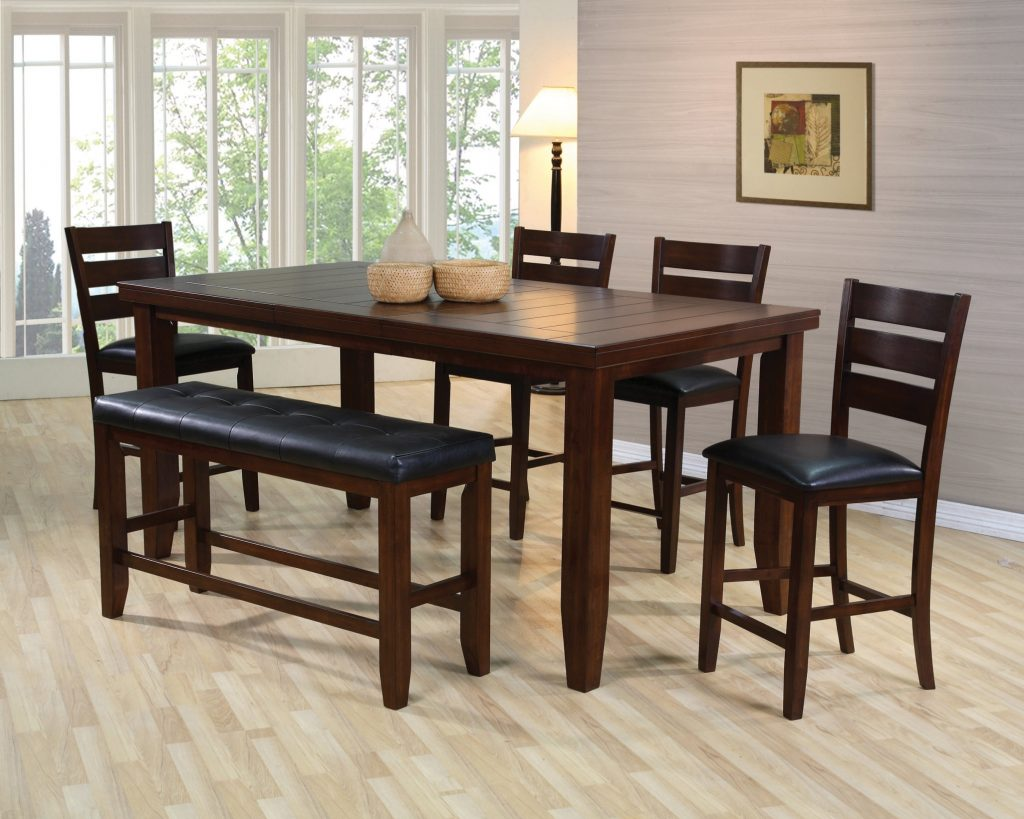 Unique Espresso Counter High Dining Table W4 Chairs And Bench