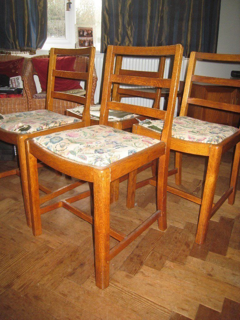 Vintage Dining Room Chairs Cc41 Utility Stamped Set Of 4 In