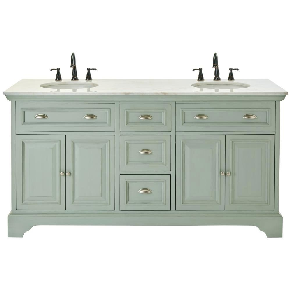 W Double Bath Vanity In Antique Light Cyan Engineered Quartzposite