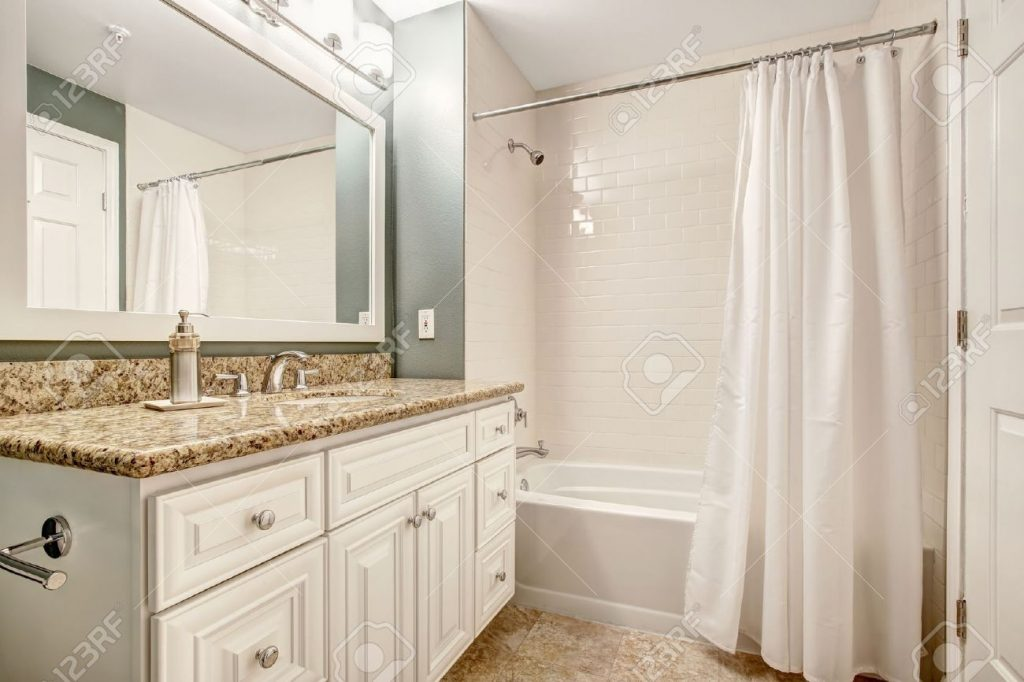White Bathroom Vanity Cabinet With Granite Top And Mirror Aqua