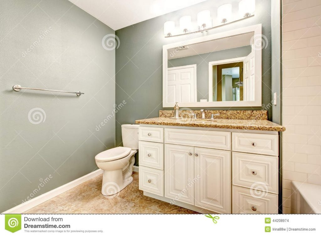 White Bathroom Vanity Cabinet With Granite Top Stock Photo Image