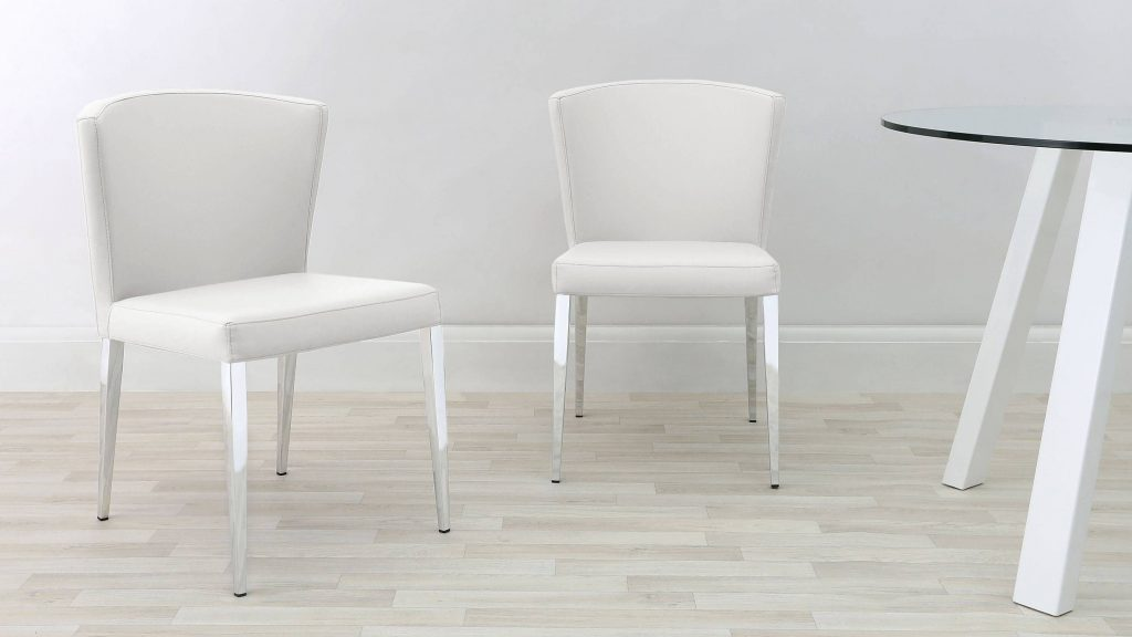 White Dining Chairs With Chrome Legs Dining Room Pinterest