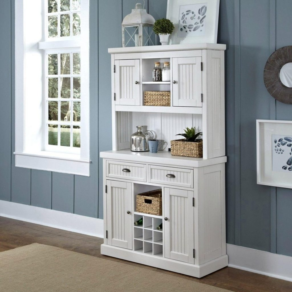 White Dining Room Hutch Narrow Buffet China Black Wood Small Table