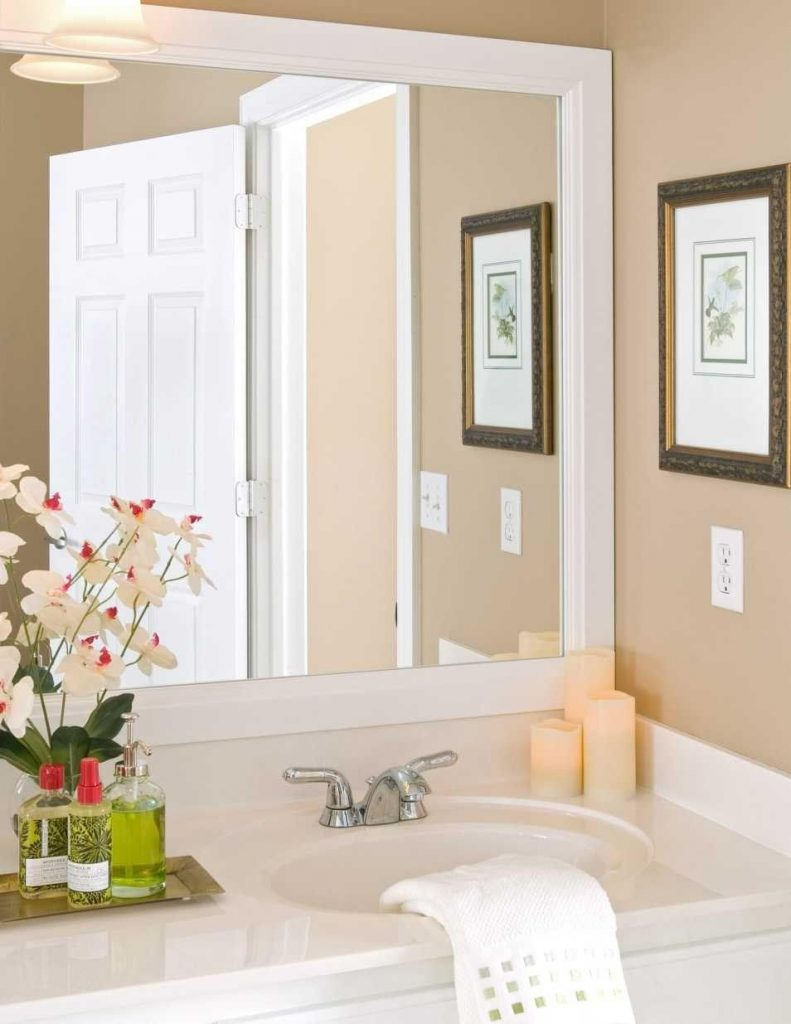 White Framed Bathroom Mirrors Mirrors Pinterest Frame Bathroom