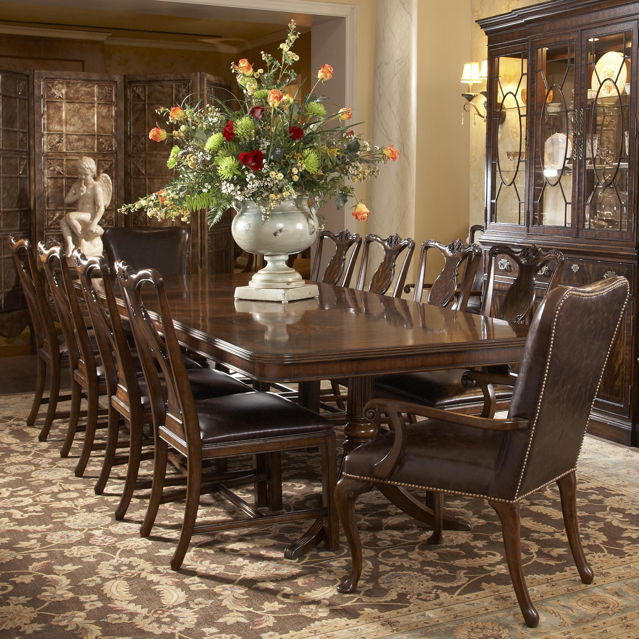 11 Piece Double Pedestal Dining Table And Splat Back Side Chair With