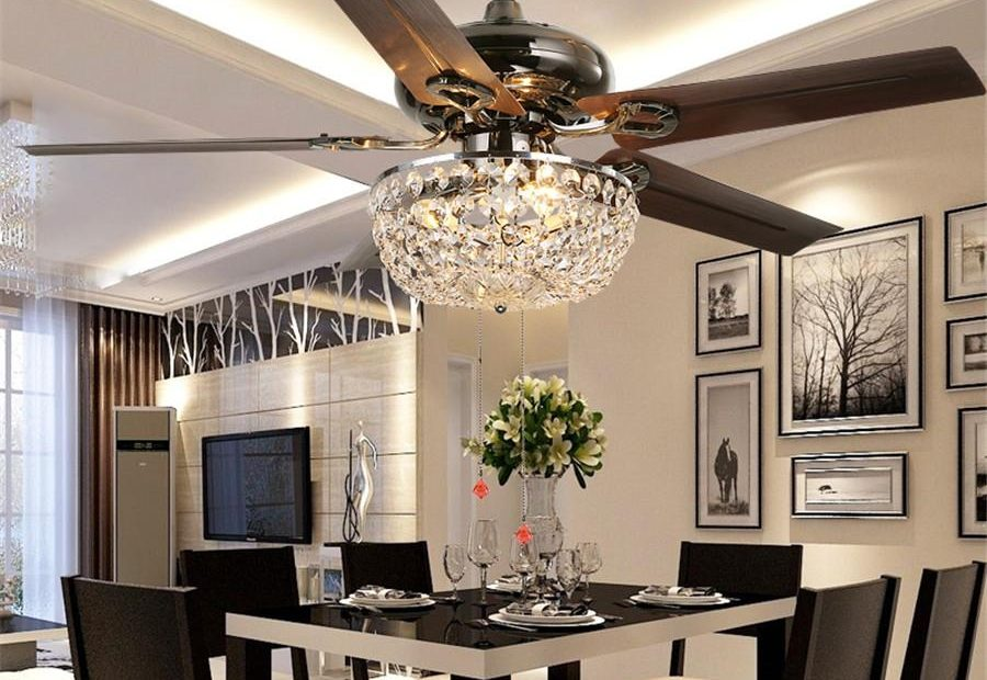 2018 Crystal Ceiling Fan Wood Leaf Antique Fan Light Fan Chandelier