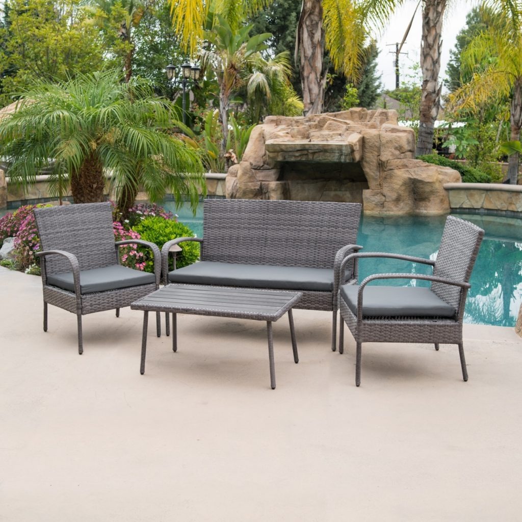 4 Piece Outdoor Patio Wicker Set All Weather Rectangular Table