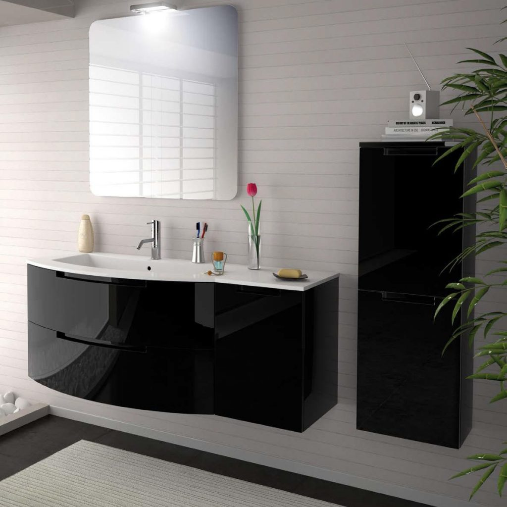 43 Inch Modern Floating Bathroom Vanity Black Glossy Finish