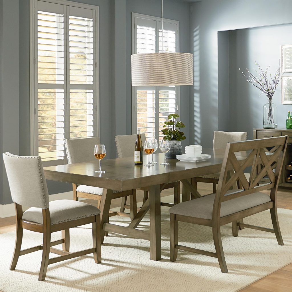 6 Piece Trestle Table Dining Set With Dining Bench Standard