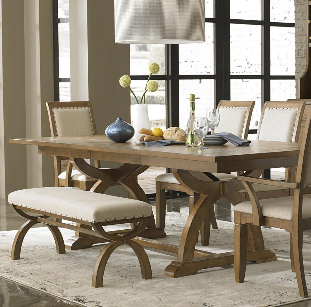 6 Pieces Country Style Dining Room Sets With Low Wooden Dining Table