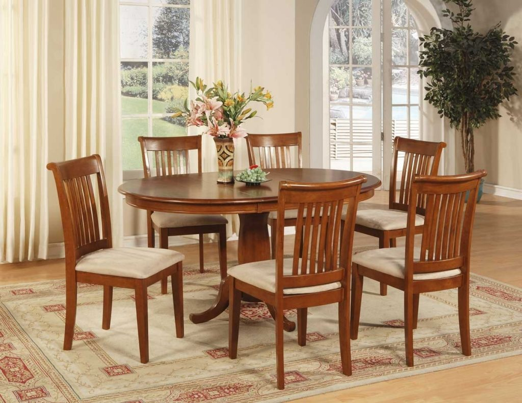 7 Pc Oval Dinette Dining Room Set Table And 6 Chairs Dining Room