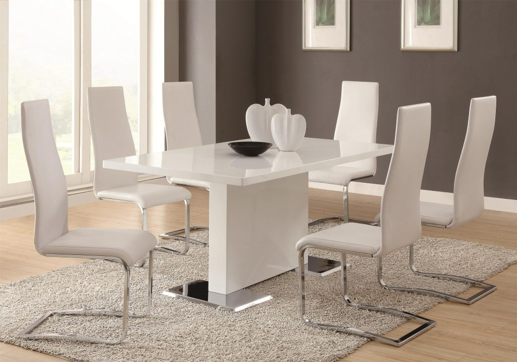 7 Piece White Table White Upholstered Chairs Set Modern Dining
