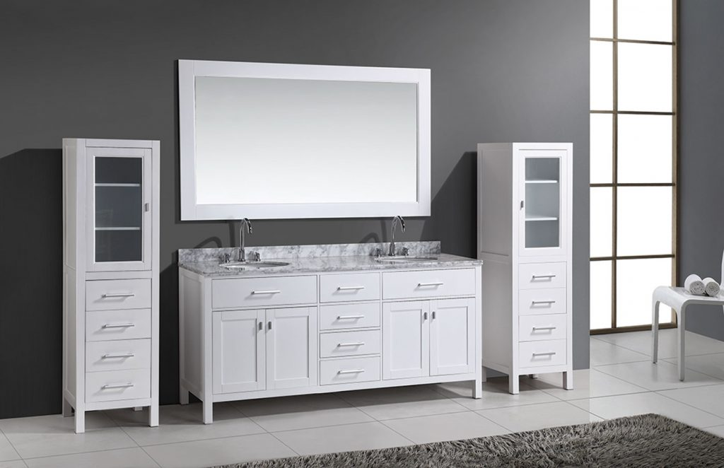 72 London Double Sink Vanity Set In White With Two Matching Linen